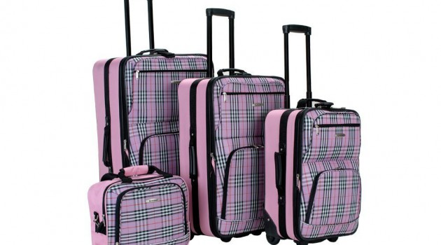 rockland-four-piece-luggage-set-pink-plaid