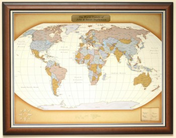 personalized travel map in frame