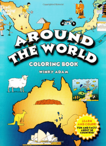 Around the World Coloring Book Cover - Travel Games for Kids
