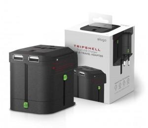 Imagem do adaptador Elago Tripshell World Travel Adapter e sua caixa